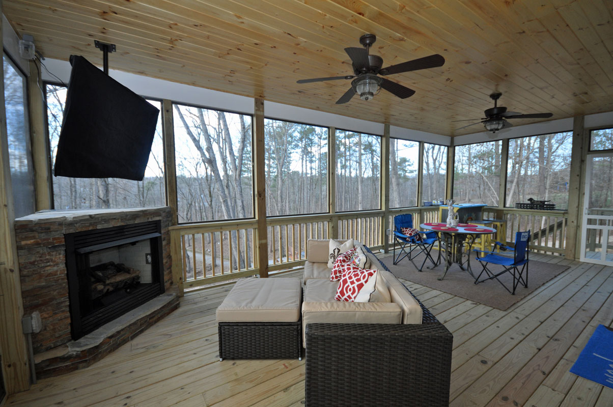Covered Deck Addition With Custom Fireplace Taber Residential