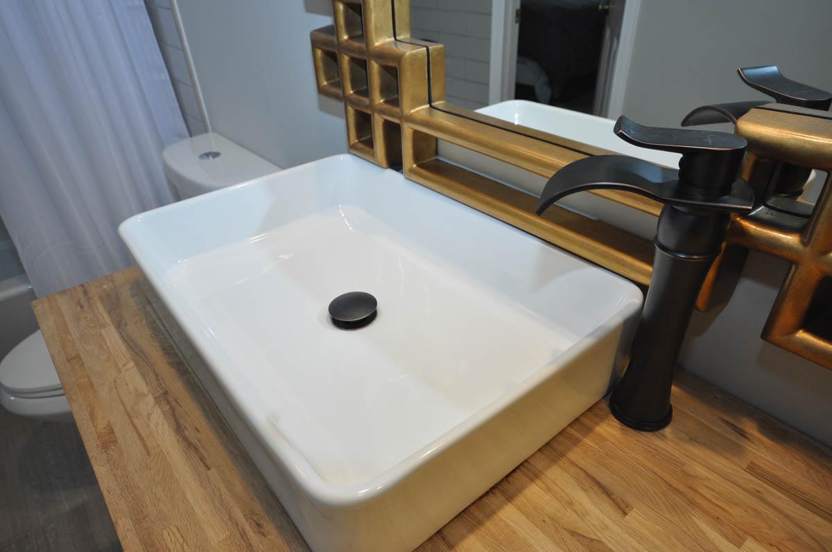 Custom butcher block top with vessel sink
