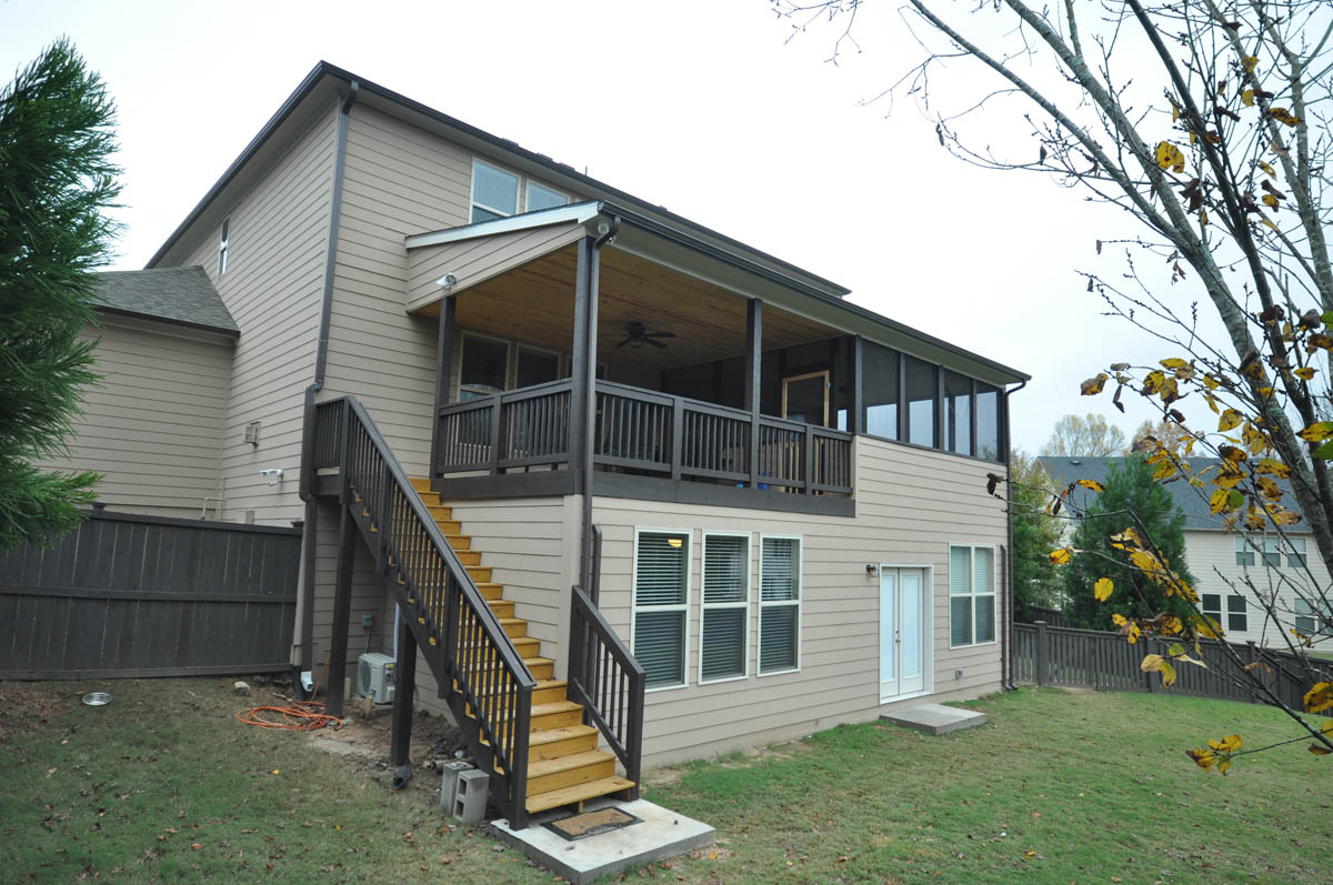 Finished Basement Addition with Covered Deck