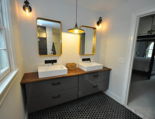 Master Bathroom Floating Vanity with Custom Butcher Block Top and Dual Vessel Sinks