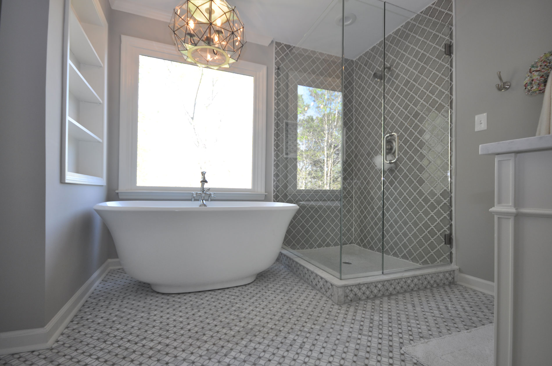 Master Bathroom With Freestanding Tub U0026 Custom Shower