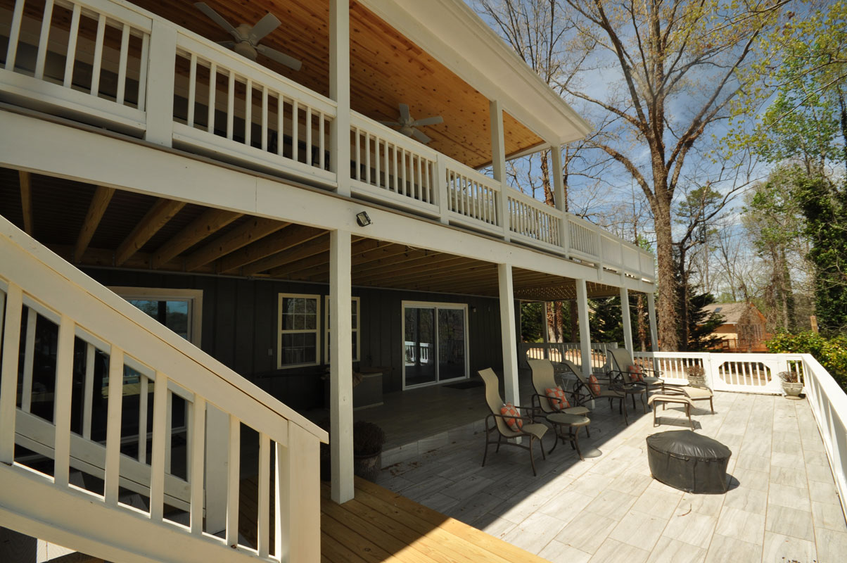 Two story covered deck on lake lanier taber residential for Two story deck